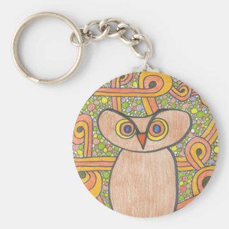 Funky Owl Basic Round Button Keychain