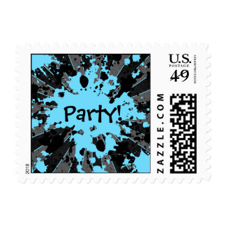Funky paintball splatters black and blue party postage