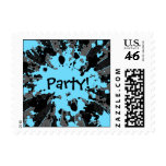 Funky paintball splatters black and blue party stamps