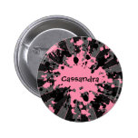 Funky paintball splatters pink and blue pin
