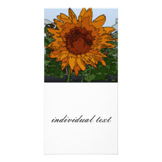 funky painting sunflower photo card