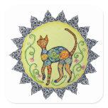 Funky, Paisley, Celtic Cat Mandala Square Sticker