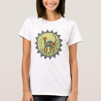 Funky, Paisley, Celtic Cat Mandala T-Shirt