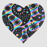Funky Paisley Design. Heart Sticker