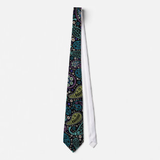 Funky Paisley Pattern in Peacock Inspired Colors Neck Tie