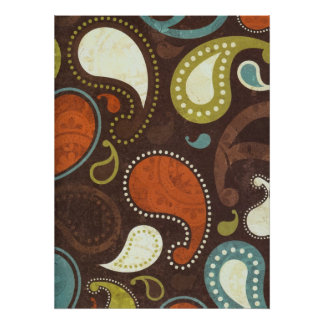 Funky Paisley Texture Poster