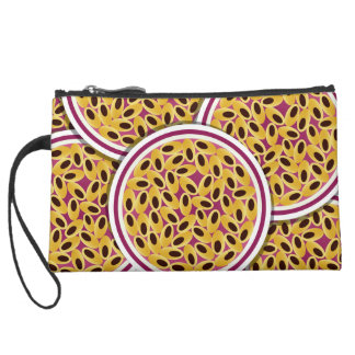 Funky passion fruit suede wristlet
