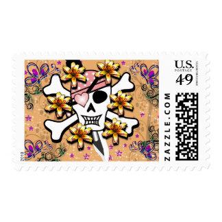 Funky Pastel Goth Pirate Skull Stamp