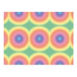 Funky Pastel Rainbow Bullseye Postcard