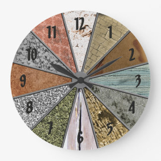 funky patterns colorful grunge textures wall clock