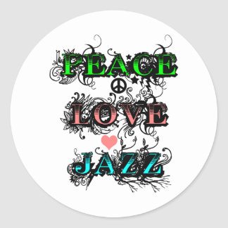 Funky Peace Love Jazz Classic Round Sticker