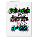 Funky Peace Love Jazz Greeting Card