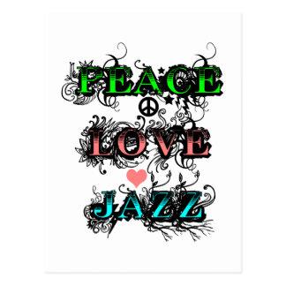 Funky Peace Love Jazz Postcard