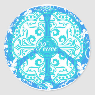 Funky Peace Sign Round Stickers