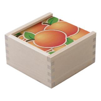 Funky peach wooden keepsake box