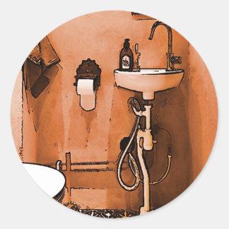Funky Peachy Bathroom Classic Round Sticker