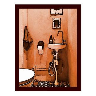Funky Peachy Bathroom Postcard