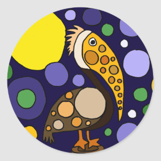 Funky Pelican and Circles Beach Art Classic Round Sticker