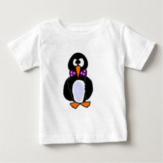 Funky Penguin Wearing Purple Bow Tie Cartoon Baby T-Shirt