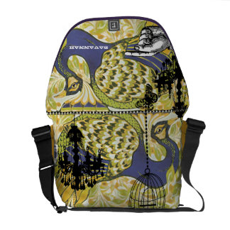 Funky Personalized Chandelier Peacock Birdcage Messenger Bag
