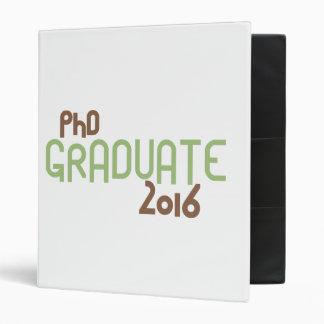 Funky PhD Graduate 2016 (Green) 3 Ring Binder
