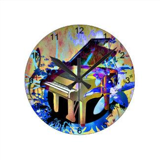 Funky Piano Round Clock