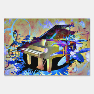 Funky Piano Yard Sign