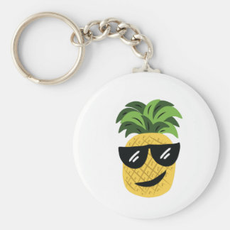 Funky Pineapple Basic Round Button Keychain