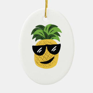 Funky Pineapple Ceramic Ornament