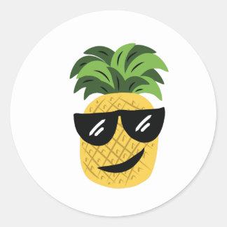 Funky Pineapple Classic Round Sticker