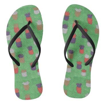 Beach Themed Funky Pineapple Pattern Flipflops Flip Flops