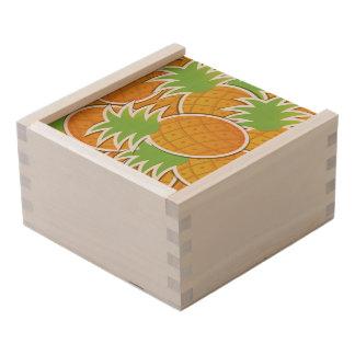 Funky pineapple wooden keepsake box