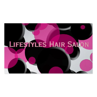 Funky Pink and Black Polka Dots Business Card