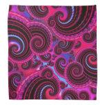 Funky Pink and Turquoise Swirl Pattern Bandanas