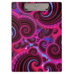 Funky Pink and Turquoise Swirl Pattern Clipboard