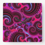 Funky Pink and Turquoise Swirl Pattern Clocks