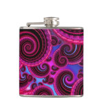 Funky Pink and Turquoise Swirl Pattern Flasks
