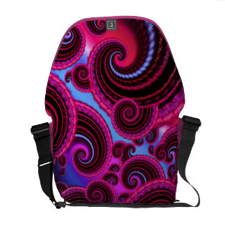 Funky Pink and Turquoise Swirl Pattern Messenger Bags