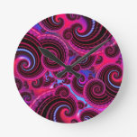 Funky Pink and Turquoise Swirl Pattern Round Clock