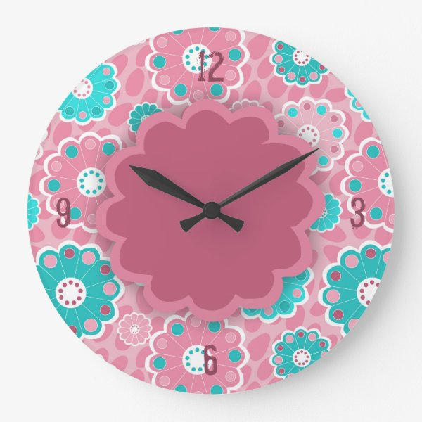 Funky pink aqua floral abstract large clock