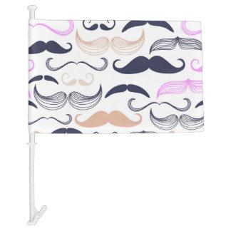 Funky Pink & Black Mustache Design Car Flag