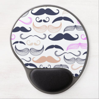 Funky Pink & Black Mustache Design Gel Mouse Pad