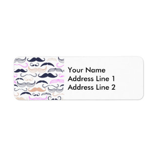 Funky Pink & Black Mustache Design Label