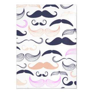 Funky Pink & Black Mustache Design Magnetic Card