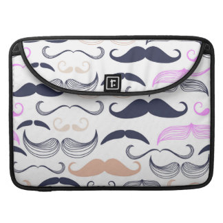 Funky Pink & Black Mustache Design Sleeve For MacBooks