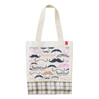 Funky Pink & Black Mustache Design Zazzle HEART Tote Bag