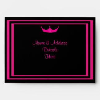 Funky Pink & Black Sweet 16 Tiara Customizable Envelope