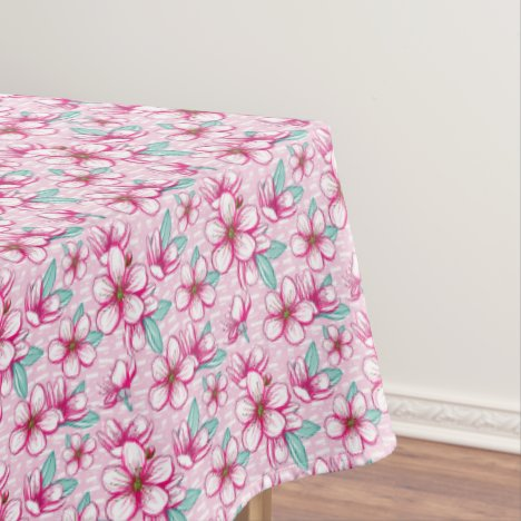 Funky Pink Cherry Blossom Tablecloth