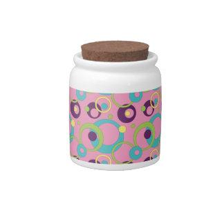 Funky Pink Circles Candy Jar