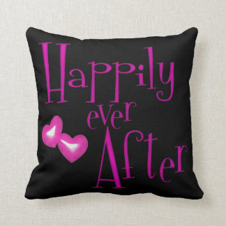 Funky Pink Faux Glitter Happily Ever After Hearts Pillow